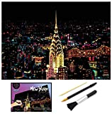 Scratch Art, Scratch Paper Rainbow Painting Sketch Pads DIY Night View Scratchboard for Adult and Kids, 16x11.2 Inches,Scratch Drawing Pen, Clean Brush (New York)