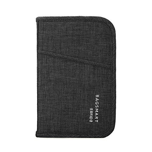 BAGSMART Reisen Ausweistasche RFID-Schutz für Karten, Ausweis, Geldscheine, Schwarz