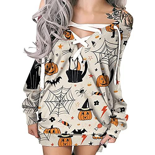 Vestido con capucha para mujer, de manga larga, con cordón, con lazo, cuello redondo, camiseta, blusas, Tela de araña albaricoque, S