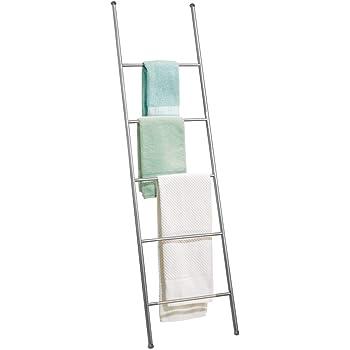 mDesign Toallero escalera de metal inoxidable – Práctico mueble toallero para toallas de mano, toallas de ducha y más – Modernos toalleros de pie con 5 barras – plateado mate: Amazon.es: Hogar