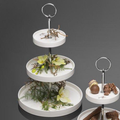 Étagère ROUND Kuchenplatte Kuchenteller Teller 3-stöckig, Porzellan, 34,5 cm