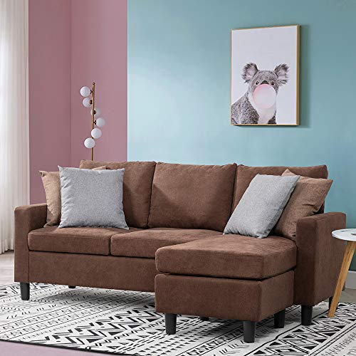Walsunny Convertible Sectional Sofa for Small Space L-Shaped Couch with Modern Linen Fabric (Brown)