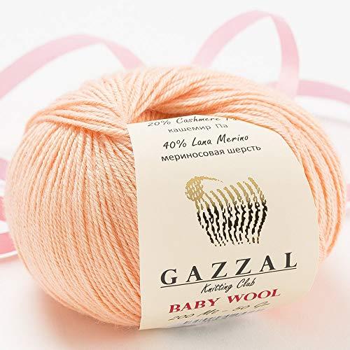 5 Pack - Total 8.8 Oz Gazzal Baby Wool 1.76 Oz (50g) / 191 Yards (175m) Fine Baby Yarn, 40% Lana Merino, 20% Cashmere Type Polyamide, Pink - 834