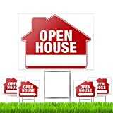 """Open House Signs (5 Pack) – Premium Large 24"""" x 18"""" Open House Signs for Real Estate with Stakes – Professional Double-Sided Realtor Signs with Directional Arrows & Heavy Duty Yard Sign Stakes"""