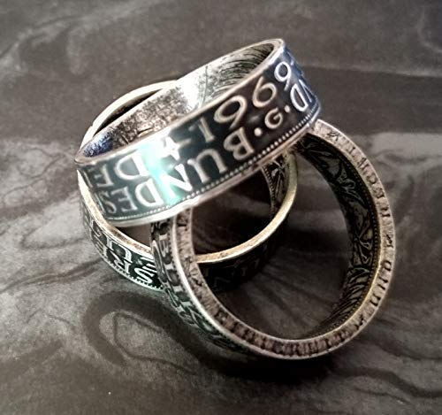 Coinring, Münzring, Ring aus Münze (1971 Heiermann - Silberadler - 5 Mark), 625er Silber - Double Sided coin ring - verschiedene Größen, Ihr handgeschmiedetes Unikat