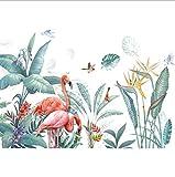 Adesivi murali stile nordico fiori freschi piante tropicali verde