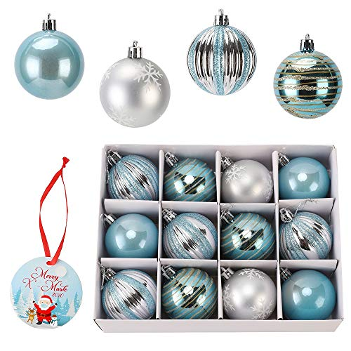 12ct 2.36' Christmas Ball Ornaments,Light Blue Glittering Shatterproof Xmas Balls for Christmas Tree Decoration, Hanging Ball Small for Holiday Party Decoration,Christmas Tree Ornaments (Light blue)