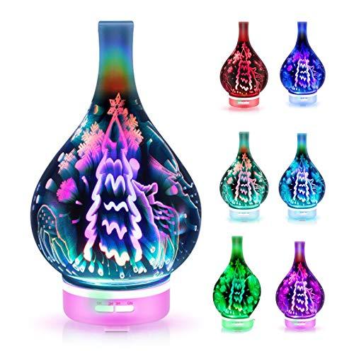 ERTYU Difusor de aromaterapia, 120ml difusor ultrasónico de aceites Esenciales, difusor de Aroma con Efecto de árbol de Navidad 3D con luz de 7 Colores, Ajuste de Temporizador para casaEU Plug