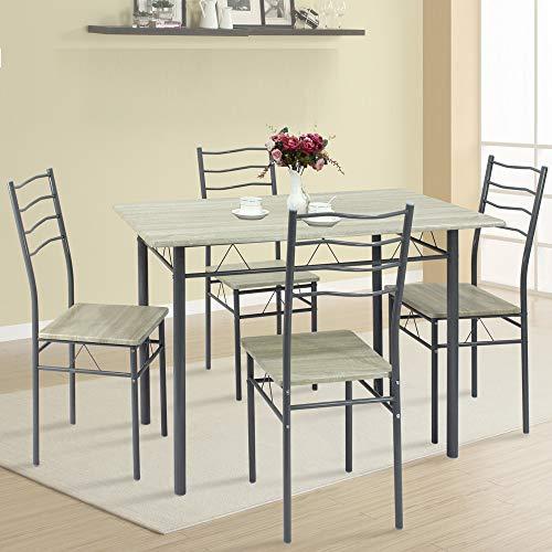VS Venta-stock Conjunto Mesa y 4 sillas Comedor Lima Roble/Gris, Mesa 110 cm x 70 cm x 76 cm, Estructura metálica