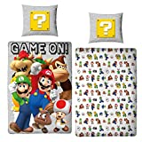 Character World Ropa de cama Super Mario 135 x 200 + 80 x 80, tamaño alemán · Nintendo · Luigi & Friends 100% algodón para adolescentes