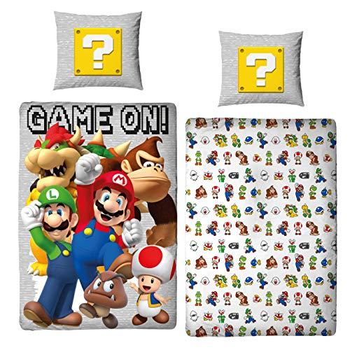 Character World Bettwäsche Super Mario 135x200 + 80x80 deutsche Größe · Nintendo · Mario Luigi & Friends 100% Baumwolle Teenager Kinder-Bettwäsche