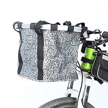 BCBIG Panier De Vélo Noir en Tissu Oxford pour Charge Chats Et Chiens De Compagnie, Achats De Voyage, Pique-Nique - Capacité De Chargement Maximale: 5 Kg (11 LB),Gris