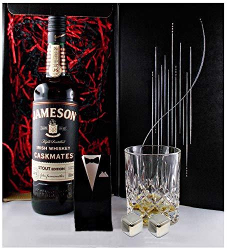 Geschenk Jameson Caskmates irischer Whiskey + Glas + 2 Whisky Kühlsteine
