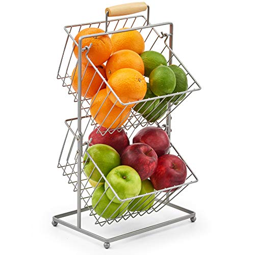 EZOWare 2-Tier Fruit Basket Stand, Kitchen Market Produce Mini Countertop Holder Bins - Storage Organizer for Fruits Veggies Snacks Household Bathroom Items