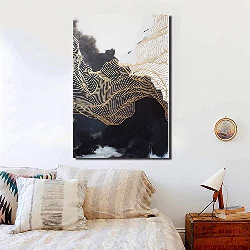 hetingyue Abstrakte Kunst Neue chinesische Schwarzweiss-Leinwandmalerei Goldlinie Dekoration Malerei Wohnzimmer Korridor Wandkunst rahmenlose Malerei 60x90cm