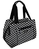 Nicole Miller of New York Insulated Waterproof Lunch  Box Cooler Bag - 11 Lunch Tote (Black and White Polka Dot)
