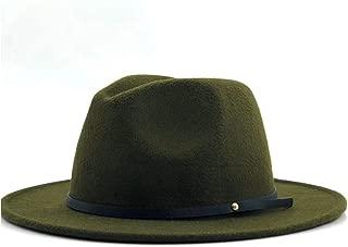 MAODOXIANG Men's Cowboy Hat Women Cowgirl Hat Fedora Hat Wool Felt Narrow Leather Bandwidth Side Gentleman Elegant Ladies Winter Autumn Jazz Hat (Color : Green, Size : 56-58CM)
