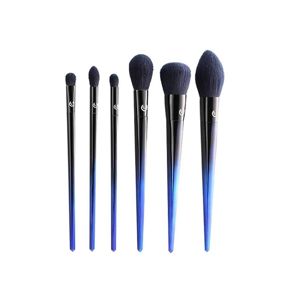 世界的にコンテンポラリー対応Qiyuezhuangshi001 メイクブラシ、6メイクブラシセット、アイフェイシャルルースパウダーブラッシュスマッジビューティーツール、プロ初心者メイクツール,人間工学に基づいたデザイン (Color : Blue)