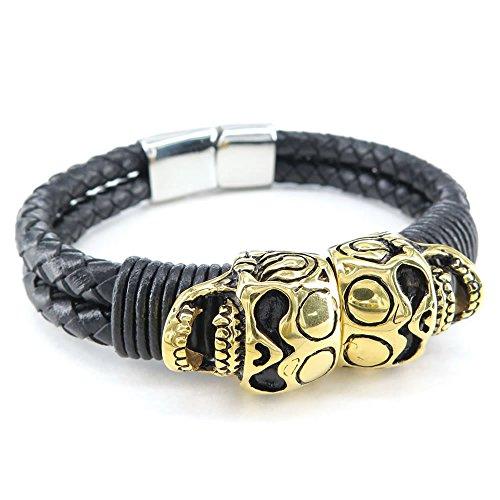 KONOV Jewellery Herren Edelstahl Armband, Gotik Totenkopf Schädel Leder geflochten Armreif, Schwarz Gold (mit Geschenk Tüte)