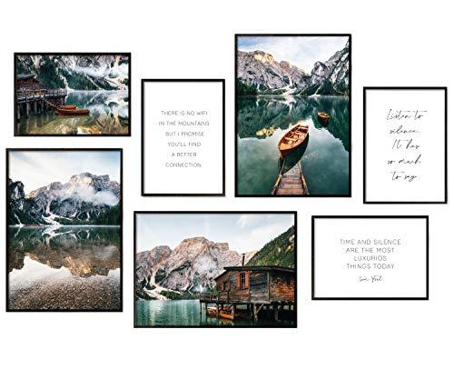 Hyggelig Home Premium Poster Set - 7 passende Bilder im stilvollen Set als Wohnzimmer Deko - Collage Wand Bild Schlafzimmer Flur - 3 x DIN A3 + 4 x DIN A4 - Set Lake - Ohne Rahmen