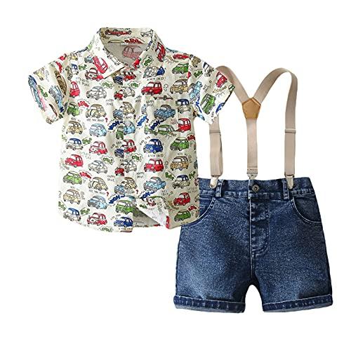 EpicLife Niño Niño Niño Traje De Camisa Infantil Suspender Pantalones Cortos De Mezclilla Caballero De Impresión De Coche Conjuntos De Verano
