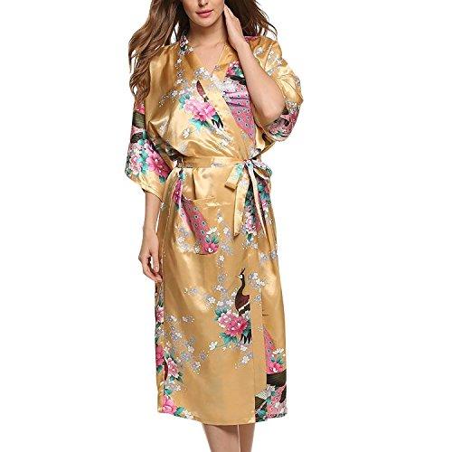 Asskyus Traje de Kimono de Robe Largo del sueño de Las Mujeres, Albornoz del Pavo Real y Flores del Traje Floral (XXXL, Amarillo)