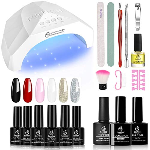 Beetles Gel Nail Polish Starter Kit with UV Light 48W LED Nail Lamp 6 Colors Gel Polish Set with Black Red White, 15ml Gel Base and Top Coat, Professional Manicure Tool Nail Kit for Salon or DIY Home