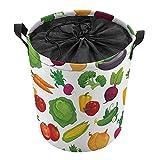 Cesta de lavandería con asa superior, cesta de almacenamiento para ropa sucia, manta para sala de estar, almacenamiento de juguetes, 35 x 44 cm, verduras frescas y saludables