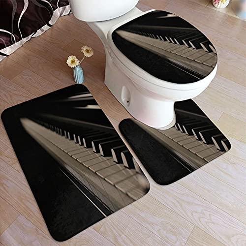 MJIAX Juego de alfombras de baño de 3 Piezas,Teclas de Pian
