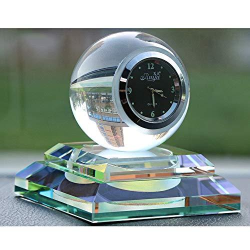 YYD Wandklok voor auto, klein, rond, kwarts, perfecte decoratie voor auto, kristallen bol