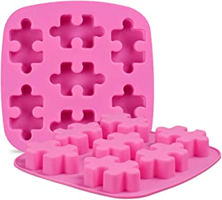 QELEG 2 Pieces 7-Cavity Puzzle Silicone Mold Chocolate Mold Silicone Candy Gummy Mold, BPA Free, Oven Safe