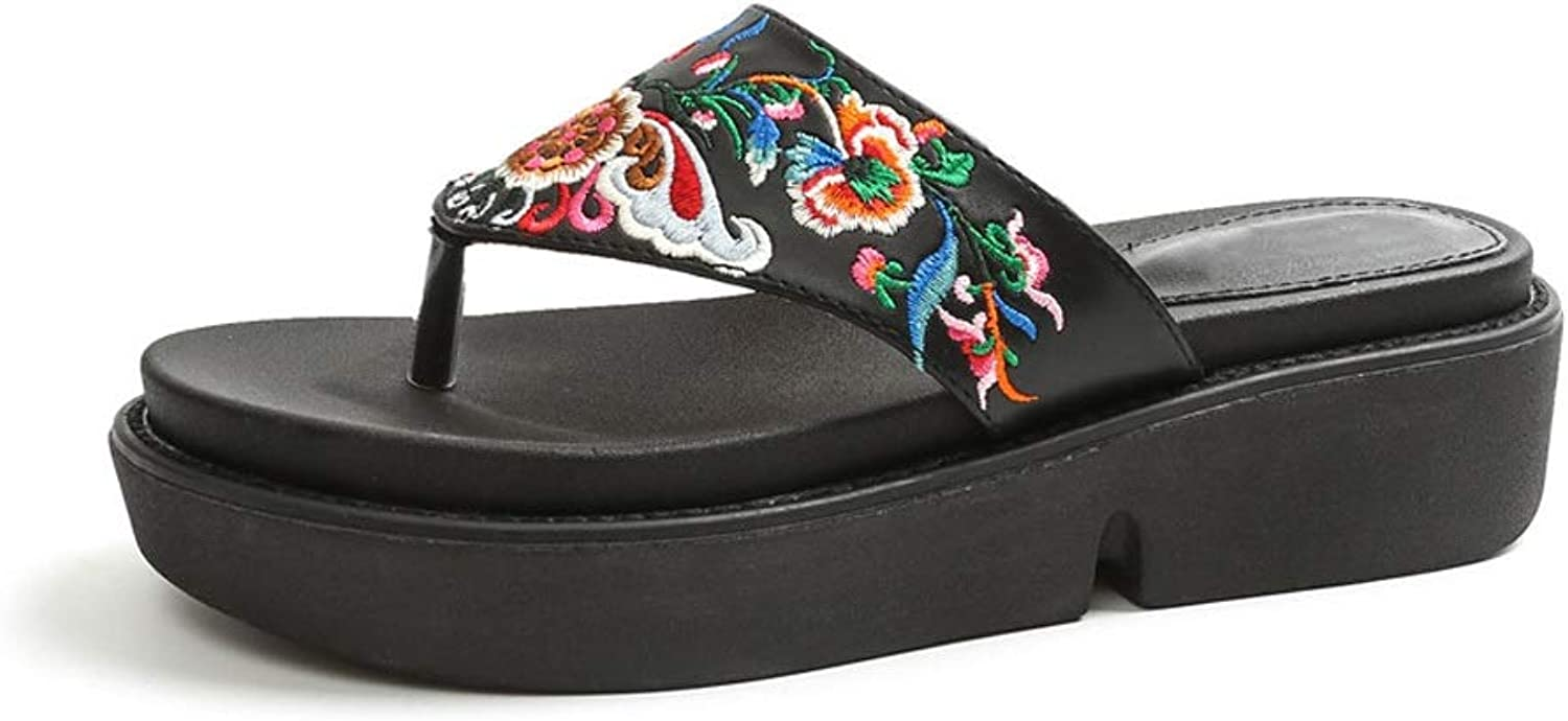 Fanxu Women's Thong Sandals, Artificial Leather Flip-Flops Ethnic Style Embroidery Sandals Black (shoes Code 3540)