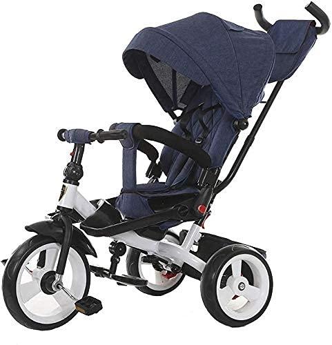 TANKKWEQ Buggies plegables, estilo de coche ligero de bebé, triciclos, carruajes para bebés con ruedas adicionales, manos de empuje ajustables en altura, adecuadas para niños desde el nacimiento hasta