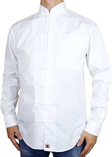 Sinologie - Camisa de cuello mao con botones chinos, color blanco