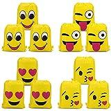 SIMUER Emoji Bolsas de Cuerdas (12Pcs), Emoji Cordón Mochila Bolsas Regalo Cumpleaños Deporte...