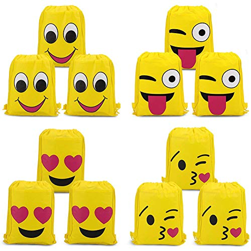 SIMUER Emoji Bags Drawstring Backpacks 12Pcs, Kids Birthday Party Give Aways Supplies for Boys Girls Goodie Bags for Children Girls and Boys Birthday Party Favor Bags
