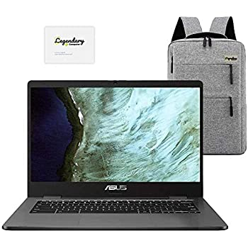 "2020 ASUS 14"" Lightweight Chromebook, Intel Celeron N3350 Processor, 4GB RAM, 32GB eMMC Storage, Webcam, WiFi, Chrome OS (Google Classroom or Zoom Compatible) Grey /Legendary Accessories"