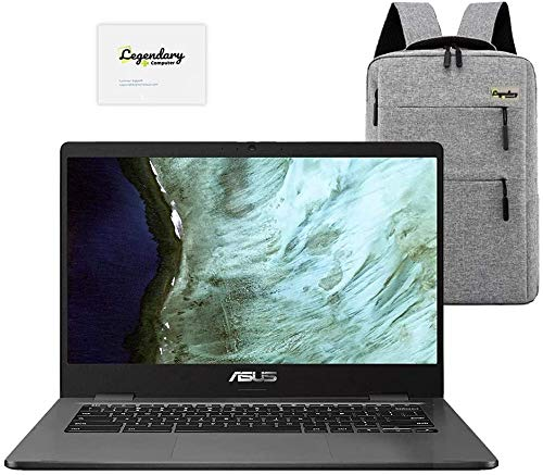 2020 ASUS 14' Lightweight Chromebook, Intel Celeron N3350 Processor, 4GB RAM, 32GB eMMC Storage, Webcam, WiFi, Chrome OS (Google Classroom or Zoom Compatible) Grey /Legendary Accessories