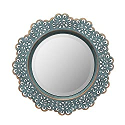 Stonebriar American Adventure Metal Lace Wall Mirror, Turquoise