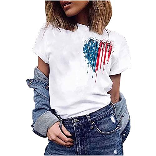 Tops de verano para mujer, camisetas casuales para mujer, camiseta de manga corta con cuello en O e independencia, para el día de la independencia, blusa de 7 a 10 días