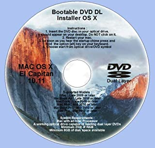 Bootable DVD DL for Mac OS X 10.11 El Capitan Full OS Install Reinstall Recovery Upgrade