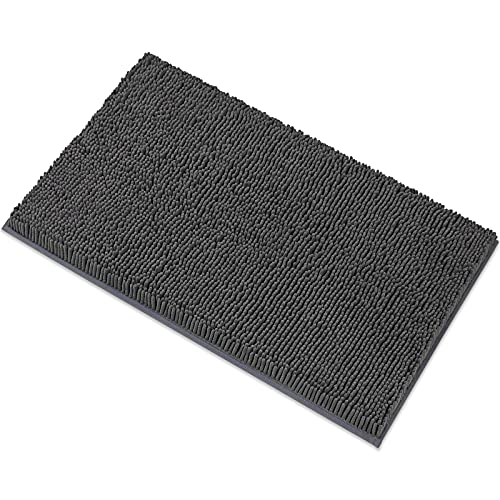MAYSHINE Luxury Chenille Bath Mats for Bathroom Rugs Soft, Absorbent, Shaggy Microfiber,Machine-Washable, Perfect for Door Mat (20x32 Inches, Charcoal Gray)