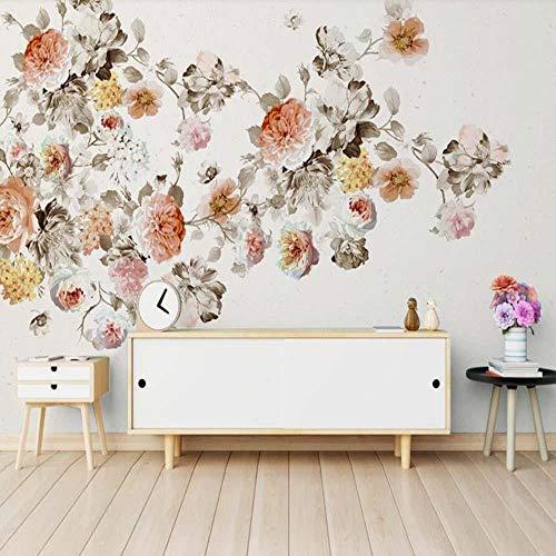 3D vliesbehang fotovlies premium fotobehang behang vintage handgeschilderd olieschilderij roos bloem wandschilderij bloem 3D woonkamer bloemenbehang 400*280 400 x 280 cm.