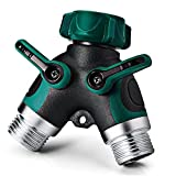 NEX 2 Way Y Hose Connector, Garden Faucet Splitter Metal Body with Comfortable Smooth Rubberized Grip