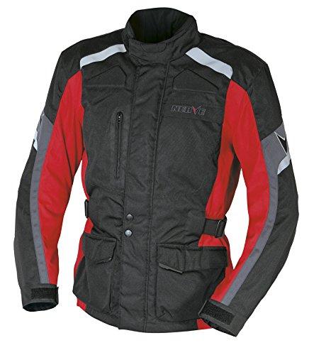 Nerve Touring Chaqueta de Moto EXT, Negro/Rojo, M