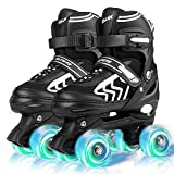 Kids Adjustable Roller Skates for Boys Girls Beginners, for Child Youth and Adult Roller Skates 4 Size with Light Up Wheels - S Size