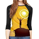Open Arms to The Joy of Nature Sunrise Dawn,Women's Cool Crew Neck T-Shirt Summer L