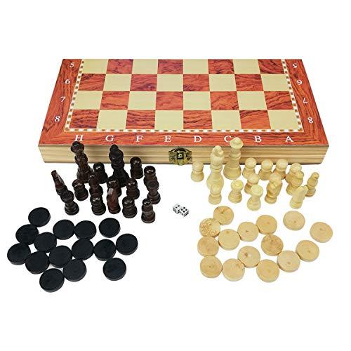 profesional ajedraz 3 en 1 Plegable de Madera Natural Juego de ajedrez/Damas/Backgammon...