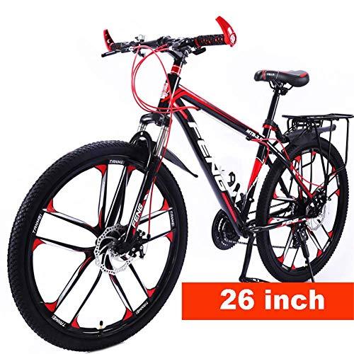 LXDDP 26In Mountainbike, Unisex Outdoor Carbon Stahl Fahrrad, vollgefederte MTB Bikes, Doppelscheibenbremsräder, Stoßdämpfer