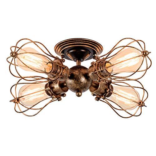 Deckenleuchte Retro Metall Deckenleuchte Antik Retro Lampe für Landhaus Schlafzimmer Wohnzimmer Esstisch(Birne nicht enthalten) (Öl Bronze, 4 Lichter)